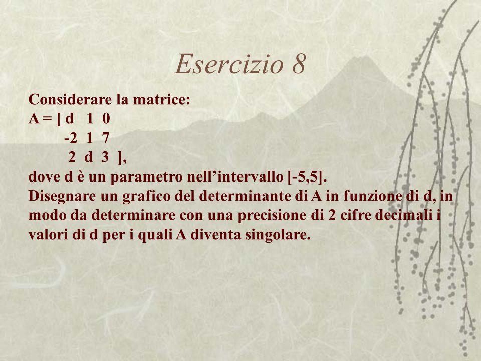 Esercizio 8 Considerare la matrice: A = [ d 1 0 -2 1 7 2 d 3 ],